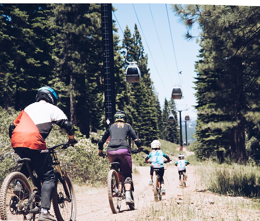 family biking together