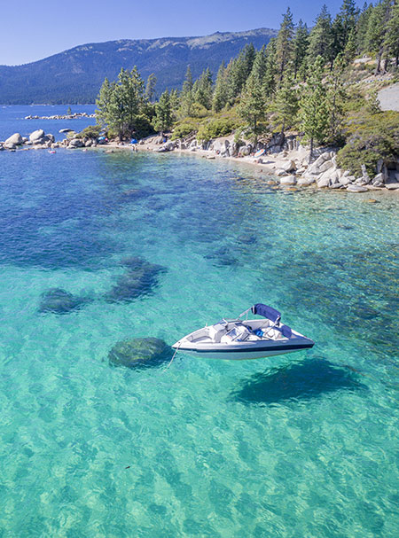 boat out on lake tahoe